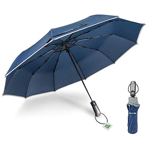 Ace Teah Travel Umbrella, Automatic Folding Umbrella 10 Ribs Windproof to 60MPH, Compact 46 Inch Rain Umbrella for Men Women, Auto Open Close, 210T Fabric Canopy with Safety Reflective Strip - Blue