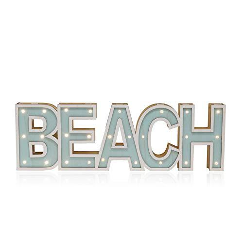 Tumbler Home | Illuminated Marque Style Beach Word LED Lit 3-Dimentional Sign Beach Word | 17.5 Inches Long | Aqua & White Wood Open Frame Coastal Tropical Beach Décor for Wall, Table, Entry