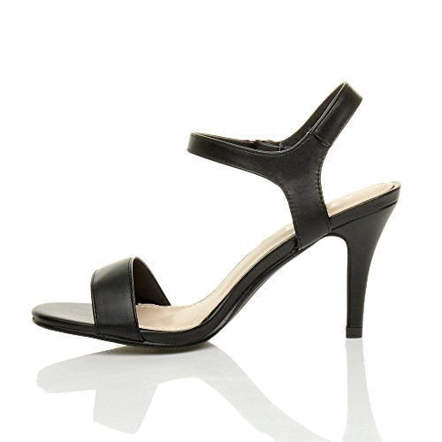 Noir Chaussures lanières à Boucle Pointure Sandales Haute Ajvani Mat élégant fête Femmes Talon wPPqOZH
