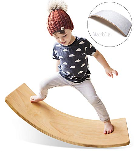 HAN-MM Wooden Wobble Balance Board with Felt Layer Waldorf Toys Balance Board Kid Yoga Board Curvy Board - Wooden Rocker Board 35 Inch Kid Size Marble