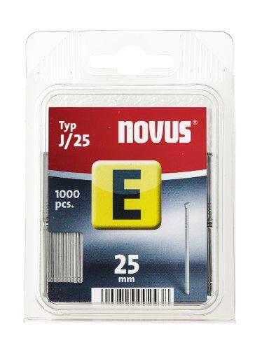 Novus Typ J Nagel mit 25 mm Länge, Klarsichtverpackung mit 1000 Nägeln vom Typ J/25, optimales Heftmittel zur Befestigung von Zierleisten und Eckleisten, 044-0065