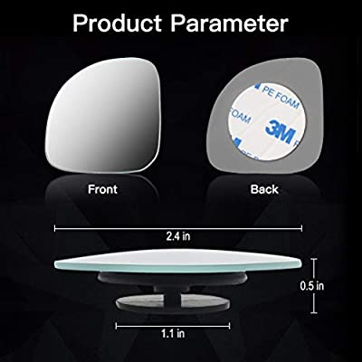TSINGYUN 4 Pack of Blind Spot Mirror, HD Glass Frameless Convex Rearview Side Mirrors, 360°Rotation Adjustable Stick-on Design for SUV Car Truck Van Driving Safety: Automotive