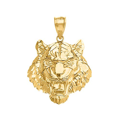 (Fine 10k Yellow Gold Roaring Tiger Head Animal Necklace Pendant, 1.31