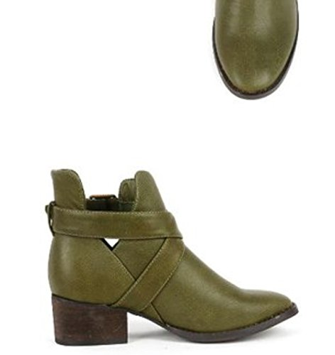Breckelles Bsbronco Stack Booties 11 Ankle Military Green Buckle Heels rrxw1