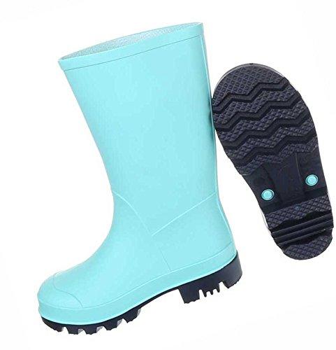 Kinderschuhe Stiefel Mädchen Jungen Regenstiefel Gummi Hellblau