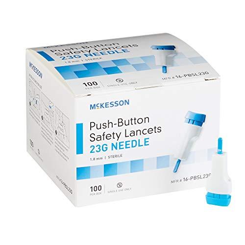 McKesson Fixed Depth Lancet Lancet Push Button 23 Gauge Needle 1.8 mm Depth 1 Box(s), 100 /Box