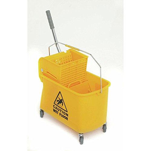 Metal Side Press Wringer (HUBERT Mop Bucket With Side Press Wringer 21 Quart Yellow Plastic - 10 1/2