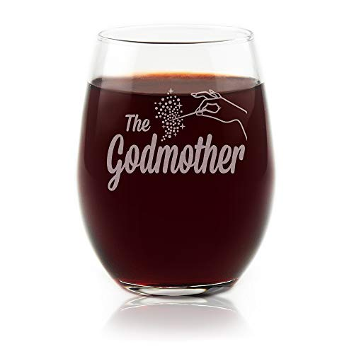 Movies On Glass Premium Etched Fairy Godmother Gift Stemless Wine Glass Matches Godfather Glass For A Set Will You Be My Godmother, Baptism Proposal, Unique Mother's Day or Christmas 15 Ounces (Will Match)