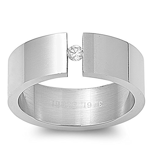 (Tension Set Cubic Zirconia Plain Band Ring Stainless Steel Size 7)