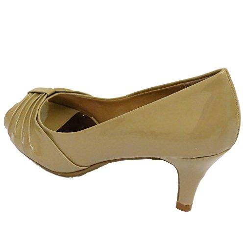 Damen hautfarbene Patent Peep-Toe zum reinschlüpfen niedrig Pumps mit Pfennigabsatz Arbeitsschuhe Größen 3-8