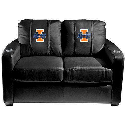 XZipit College Silver Loveseat with Illinois Fighting Illini Logo Panel, Black