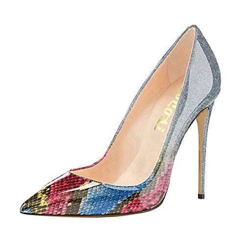 68f18db8019 VOCOSI Pointy Toe Pumps for Women,Patent Gradient Animal Print High Heels  Usual Dress Shoes 10cm-Multi 6.5 US