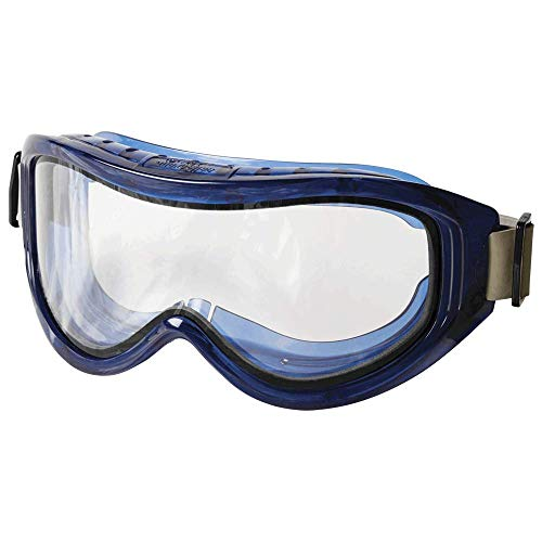Sellstrom Flexible, Soft, Indirect Vented, Odyssey II Chemical Goggle, Scratch-Resistant, Anti-Fog, Dual Panel Clear Lens, Neoprene Head Band, Blue Frame, S80201
