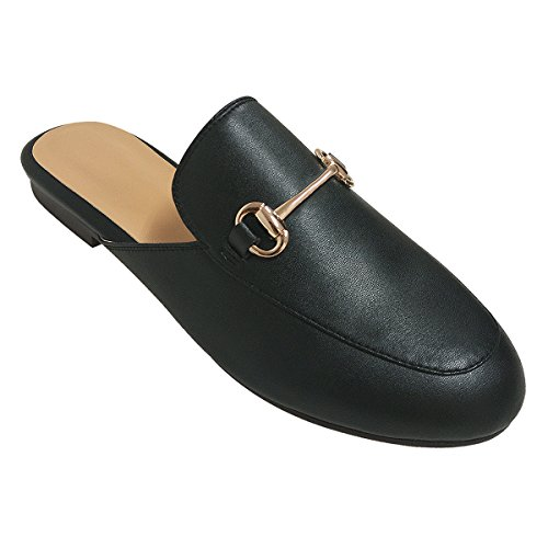 - Oxford Slide Slip On Flat Mule Loafer(Slip-on) (10, Black)
