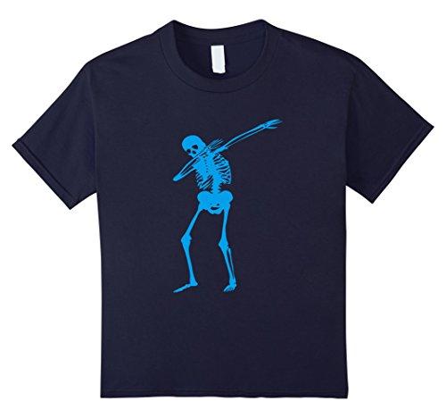 [unisex-child Dabbing Skeleton Glow Effect Shirt 12 Navy] (Skeleton Costume Pose)