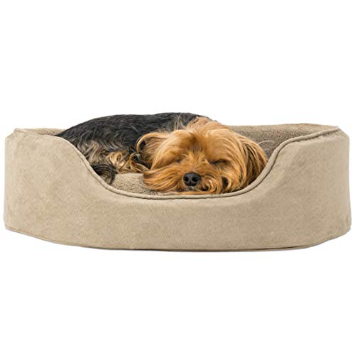 FurHaven Pet Dog Bed | Oval Terry Fleece & Suede Pet Bed for Dogs & Cats, Clay, Medium