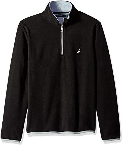 Nautica Men's Polar Fleece 1/4 Zip Back Neck Logo Sweatshirt, True Black, Medium