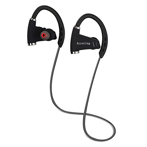 Accering Bluetooth Headphones, Best Wireless Sports Earphones with Mic, IPX7 Sweatproof, HD Sound with Bass for Gym Sports Workout, up to 12 hours working time, Black (Bass 8x10')