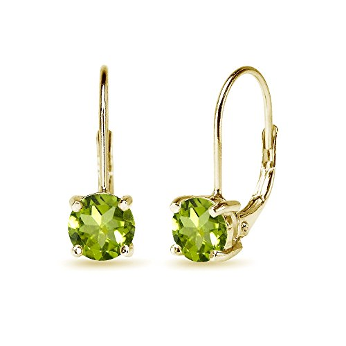 (Yellow Gold Flashed Sterling Silver 6mm Round-Cut Peridot Leverback Earrings)