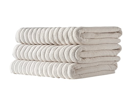 Classic Turkish Towels Jacquard Rib Style Jumbo Bath Sheet 3-Pieces (Birch 3PC Set) by classicturkishtowels.com