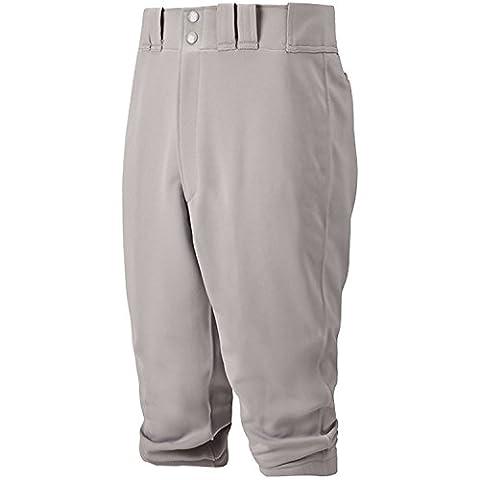 Mizuno Youth Select Short Knicker Baseball Pant, Below the Knee Fit (Grey, X-Large)