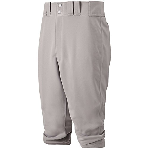 Mizuno Youth Select Short Knicker Baseball Pant, Below the Knee Fit (Grey, Medium) - Double Knit Polyester Softball Shorts