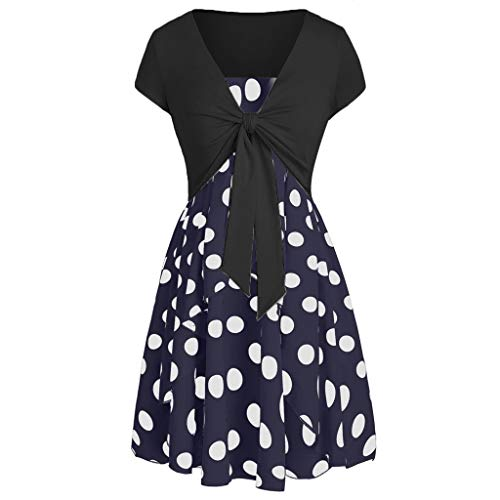 (Women Casual Summer Dresses,Summer Camis Wave Point Print Simple Dress with Crop T-Shirt Two Pieces Suit (Navy, M))