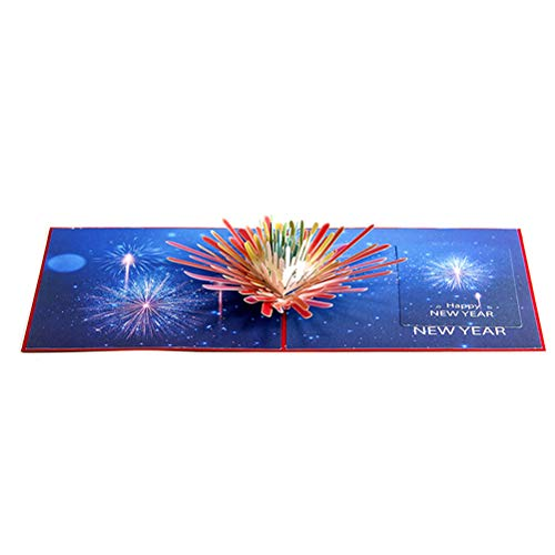 BESTOYARD 3D Pop Up Greeting Card Happy New Year Card with Fireworks Decor Christmas Holiday Party Supplies Invitation