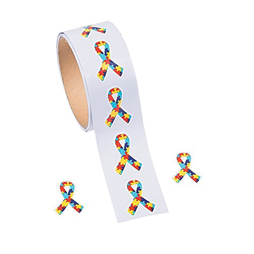 Autism Awareness Puzzle Ribbon Stickers - Stationery - Stickers - Stickers - Roll - 1 Piece -