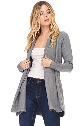 Alexander + David A+D Womens Casual Open Front Drape Knit Cardigan Sweater (Charcoal, Small/Medium) Lace Edge Tunic Sweater