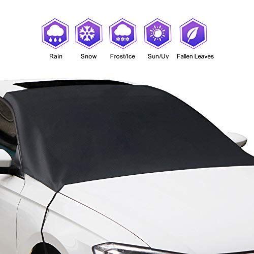 Amayrose Car Windshield Snow Cover, Magnetic Edges Car Snow Cover, Frost Guard Protector, Ice Cover, Car Windshield Sun Shade, Waterproof Windshield Protector for Car/Truck/SUV