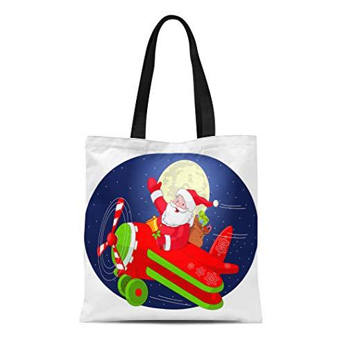 s Tote Bag Cartoon of Santa Claus Is Flying in Airplane Through Reusable Shoulder Grocery Shopping Bags Handbag Printed ()
