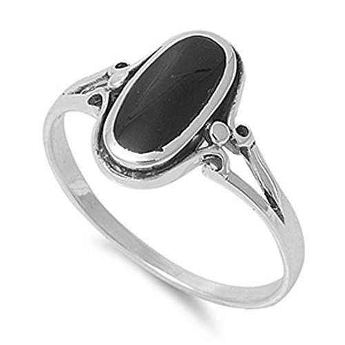 Sterling Silver Women's Simulated Black Onyx Ring Fashion 925 Band New 13mm Size 6