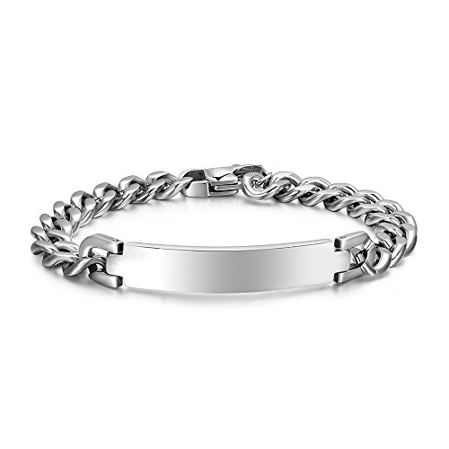 Free Engraving-Unisex Stainless Steel Polished Plain Curb Chain ID Identification Bracelet,9MM