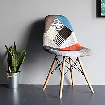 Dining Room Blue Cafe GroBKau Set of 4 Mid Century Modern Dining Chairs Patchwork Fabric Upholstered Side Chair with Dowel Wood Base; Ideal for Living Room Waiting Room etc.