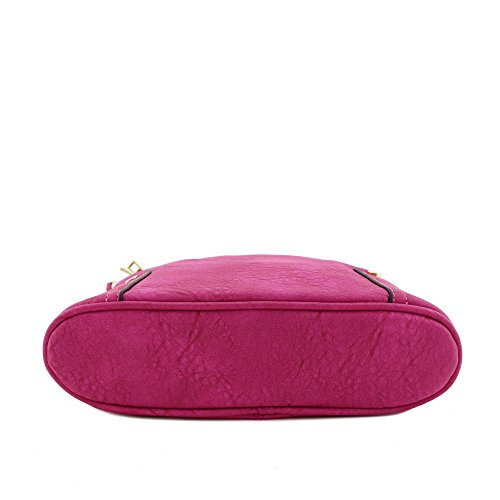 Zip Bag Pocket Magenta Crossbody Triple Large ZaUxwdqq