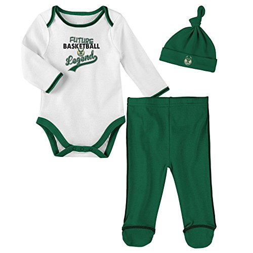 "NBA Newborn ""Future Legend"" Onesie, Pant and Hat Set Milwaukee Bucks-White-3-6 Months"