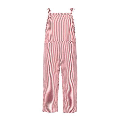 FONMA Fashion Women Pocket Bandage Sleeveless Jumpsuit Stripe Bodysuit Playsuit Romper Red (Red Rose Lemon Chiffon)
