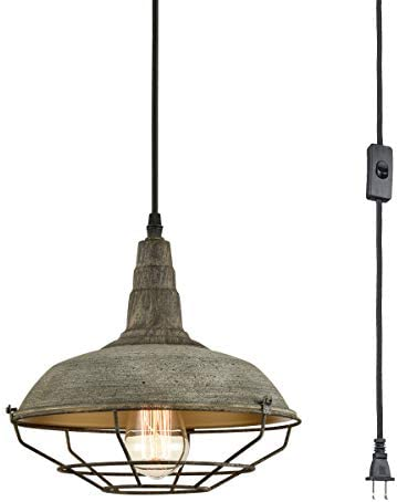DANXU Farmhouse Plug in Pendant Light with 10 Feet Hanging Cord Hanging Lighting Fixture