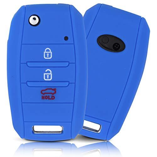 ASARAH Premium siliconen sleutelhoes compatibel met Kia, beschermhoes autosleutel cover – Sea Blue KI 3BKB-b