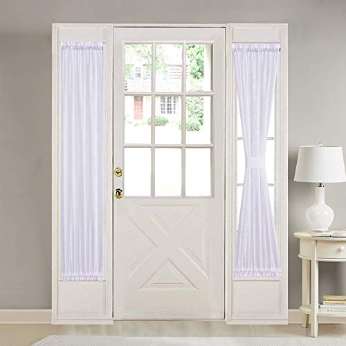 HOME BRILLIANT White Linen French Door Curtain Panels Window Drapery Rod Pocket with Tie Back, Set of 2, 30 x 72 inch