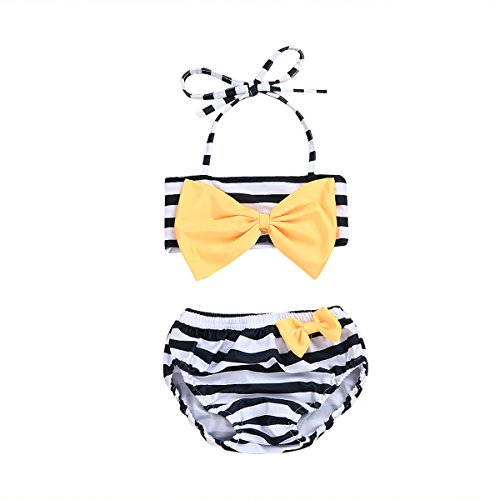 - YOUNGER TREE Cute Baby Girls Swimsuit Backless Plaid Striped Tops Ruffle +Shorts Swimwear Beach 2pcs Outfit Set (White Stripe, 6-12M)