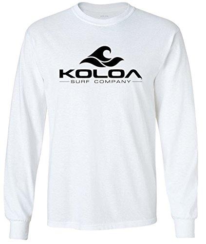 Koloa Surf Classic Wave Logo Long Sleeve Cotton T-Shirt-White/b-L