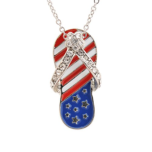 Spinningdaisy Silver Plated American Flag July 4th Sandal - Flip Necklace Flop Charm