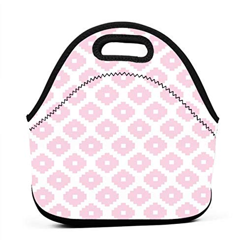 Aztec Cherry_6280 Waterproof Insulated Lunch Portable Carry Tote Picnic Storage Bag Lunch box Food Bag Gourmet Handbag For School Office