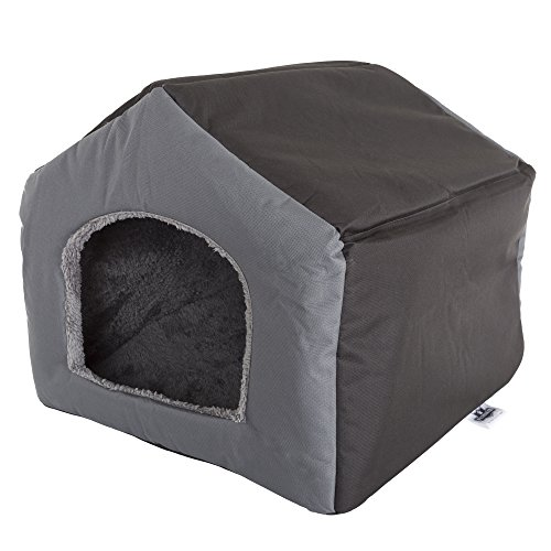 PETMAKER Cozy Cottage House Shaped Pet Bed, Gray, 19