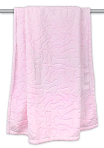 "DII Bone Dry Microfiber Pet Blanket for Dogs and Cats, 36x48"", Warm, Soft and Plush for Couch, Car, Trunk, Cage, Kennel, Dog House-Pink"