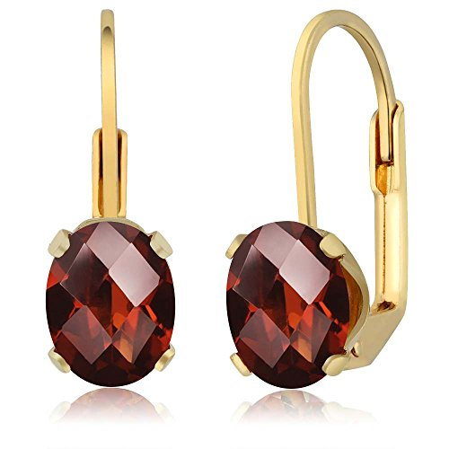 Beautiful Oval Checkerboard Shape (2.80 Ct Oval Checkerboard Shape Garnet Yellow Gold Plated Brass Dangle Earrings)