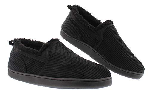 Gordon Mens Memory Foam Home Slippers,Corduroy House Shoes,Bedroom Moccasins for Men Black Men's Size 12 US