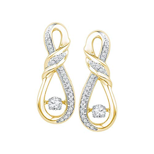 - Mia Diamonds 10kt Yellow Gold Womens Round Diamond Moving Twinkle Solitaire Twist Ribbon Earrings (.33cttw) (I1-I2)
